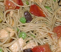 Detail of Chicken and Broken Spaghetti Sauté